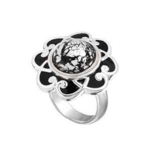 Kameleon Jewelry Black Enamel Flower Ring KR009B Size 7