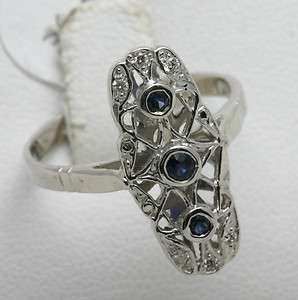 Vintage 14k white gold Sapphire & Diamond ring Reprouction long