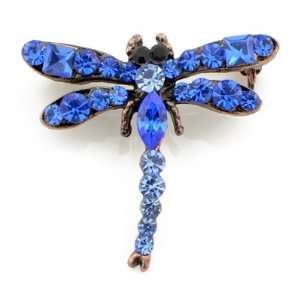 Vintage Style Sapphire Blue Dragonfly Austrian Crystal