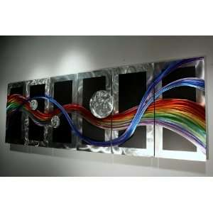 Metal Wall Sculpture Abstract Rainbow Art Painting