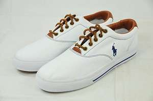 POLO RALPH LAUREN VAUGHN   CANVAS/LEATHER WHITE BOAT SHOES 7.5D (#4007