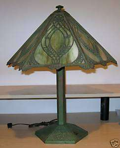 Bradley & Hubbard Arts & Crafts Slag Glass Table Lamp