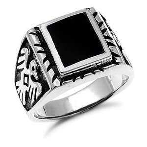 Mens Sterling Silver Black Onyx Ring Sizes 9 to 14, 11 Jewelry