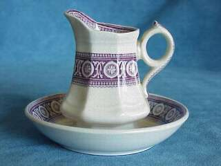Miniature Antique Purple Staffordshire BOWL & PITCHER