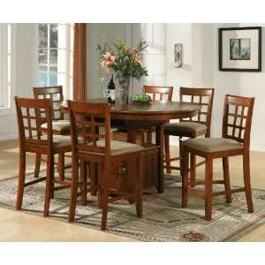 Piece Pub Table Set With 18 Butterfly Leaf   Brown