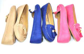 SODA Lufti Comfy Moccasin with Tassels Shoes 5.5   10 PINK/BLUE