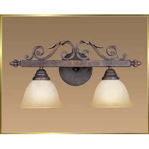 Wrought Iron Wall Sconce, JB 7376, 2 lights, Crackled Bronze, 20 wide