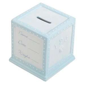 Personalized Blue Ceramic Block Bank/Magnetic Frame Baby