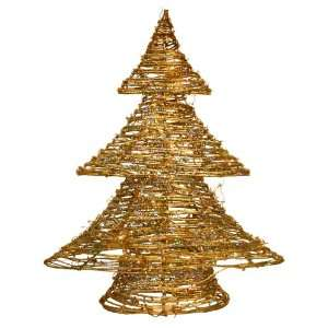 Good Tidings Gold Rattan Christmas Tree with 20 Mini