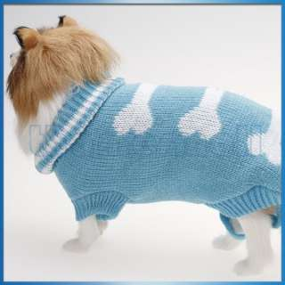 Pet Dog Puppy Turtleneck Sweater Knitwear Clothes Coat with Bone/Heart