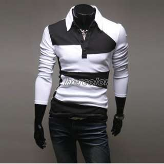 New Mens Casual Slim Fit Polo Shirts Long sleeve T shirts Tee US S M L