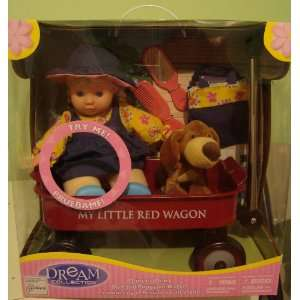 Adorable Lauging Doll with Puppy on Little Red Wagon Toys & Games