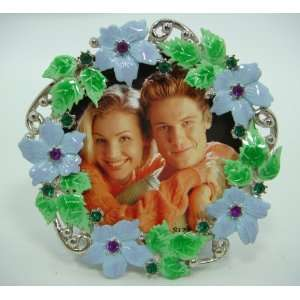 3×3 Lite Blue Flowers & Crystal Inlay