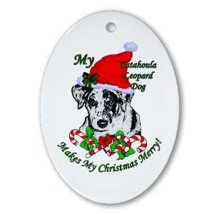 Catahoula Leopard Dog Christmas Pets Oval Ornament by