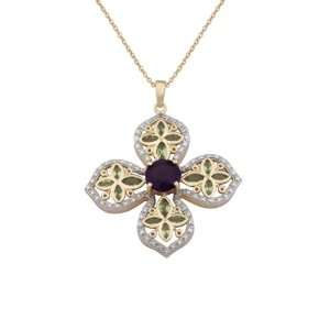 18k Yellow Gold Plated Sterling Silver Africa Amethyst and Peridot and