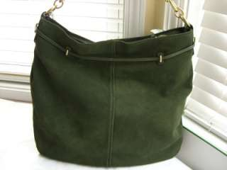 COACH Chelsea Suede Pocket Large Hobo Olive Green 17841