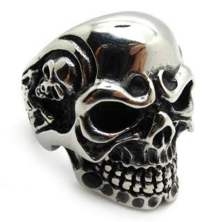 Mens PUNK gothic biker skeleton silver stainless steel cool skull