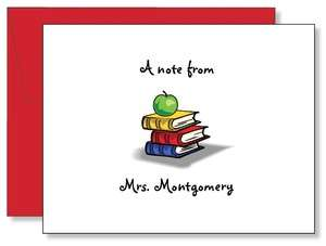 Personalized Custom Apple Teacher Note Cards 2 Designs