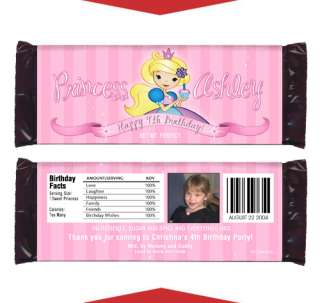 PINK PRINCESS 1st Birthday Party CANDY WRAPPER