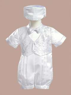 8700 Boys Christening Baptism Blessing Satin 1pc Suit Outfit 3M 6M 12M
