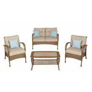 Hampton Bay 4 Piece Woven Patio Seating Set with Cushions 331.974 at