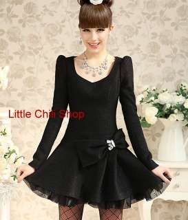 Office Lady DOLLY SWEET Princess Women BOW Long Sleeve Black DRESS S