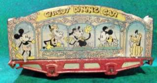 Walt Disney 1930s MARX Mickey Mouse Circus train dining car GC