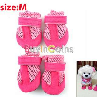 Grid Pet Dog Boots Soft Shoes Air Holes Suede Synthetic Rubber Non