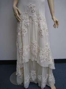 Sue Wong W6405 Ivory Cream Off White 14 Beaded Sequin Dress Gown