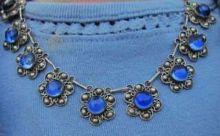 STERLING SILVER BLUE STONE GLASS NECKLACE EARRINGS PIN SET