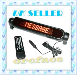CAR ADVERTISING SCROLLING LED LIGHT SIGN MESSAGE BOARD DISPLAY REMOTE