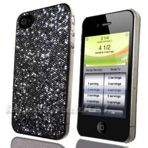BLACK GLITTER SPARKEL BLING CASE COVER FOR iPHONE 4 4G