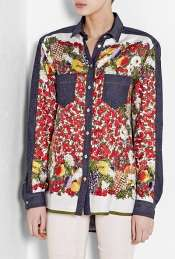 Fruit Print Denim Shirt by D&G