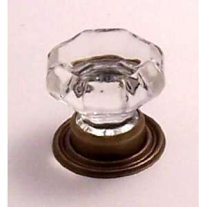 Finest ANTIQUE BRASS OLD TOWN 24% Lead Crystal Glass Knob Pulls