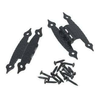 Door Hinges Black Wrought Iron, H Hinge Pair Straight Edge