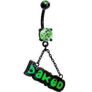 Peridot Green Gem Baked Dangle Belly Ring Jewelry