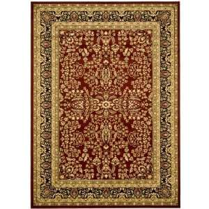 Lyndhurst Collection LNH214A Area Rug, 4 Feet by 6 Feet, Red and Black