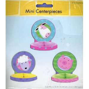 Farm Animals Honeycomb Mini Centerpieces, Set of 3