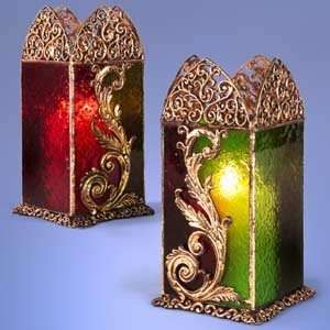 Red/Green Gold Filigree Hurricane Candle Holder   Each