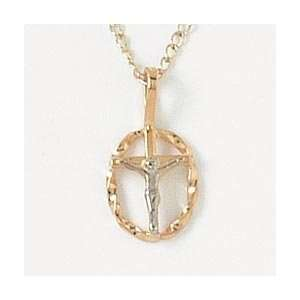 Two Tone Oval Wire Crucifix   Gold Filled Pendant   for