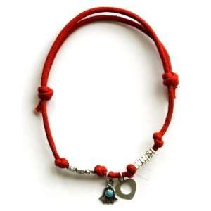 Red Rope Hamsa Bracelet with Heart Charm for Good Luck & Love Jewelry