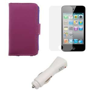 Wallet Leather Case + LCD Screen Protector for Apple iPod Touch 4th