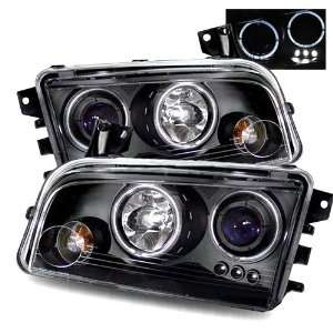 06 08 Dodge Charger Black LED Halo Projector Headlights Automotive