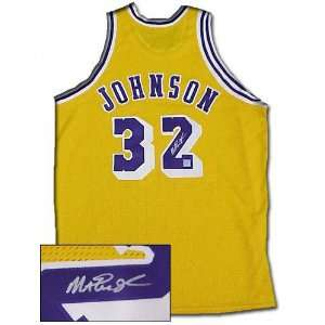 Magic Johnson Los Angeled Lakers Autographed Authentic Gold Jersey