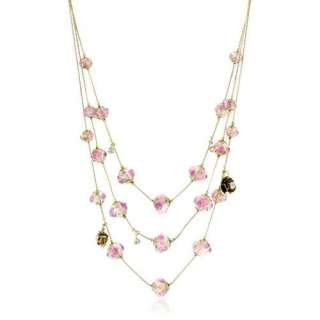 Princess Pink Flower Bead Multi Row Necklace Jewelry