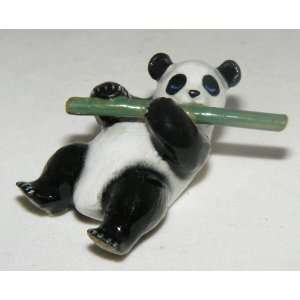 PANDA BEAR Cub lays flat on back holds BAMABOO MINIATURE New PORCELAIN