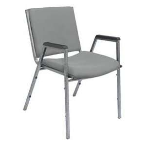 Heavy Duty Stack Chair With Arms   Solid Gray Fabric/Silvervein Frame