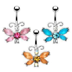 Pink/Clear Frosted Gem Butterfly Navel Ring   14G (1.6mm), 10mm Length