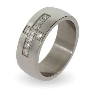 Mens Stainless Steel CZ Cross Ring Size 11 (Sizes 9 10 11