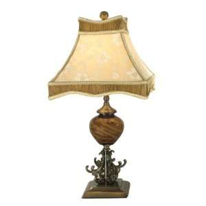 Dale Tiffany PG80333 San Felipe Table Lamp, Nickel and Fabric Shade